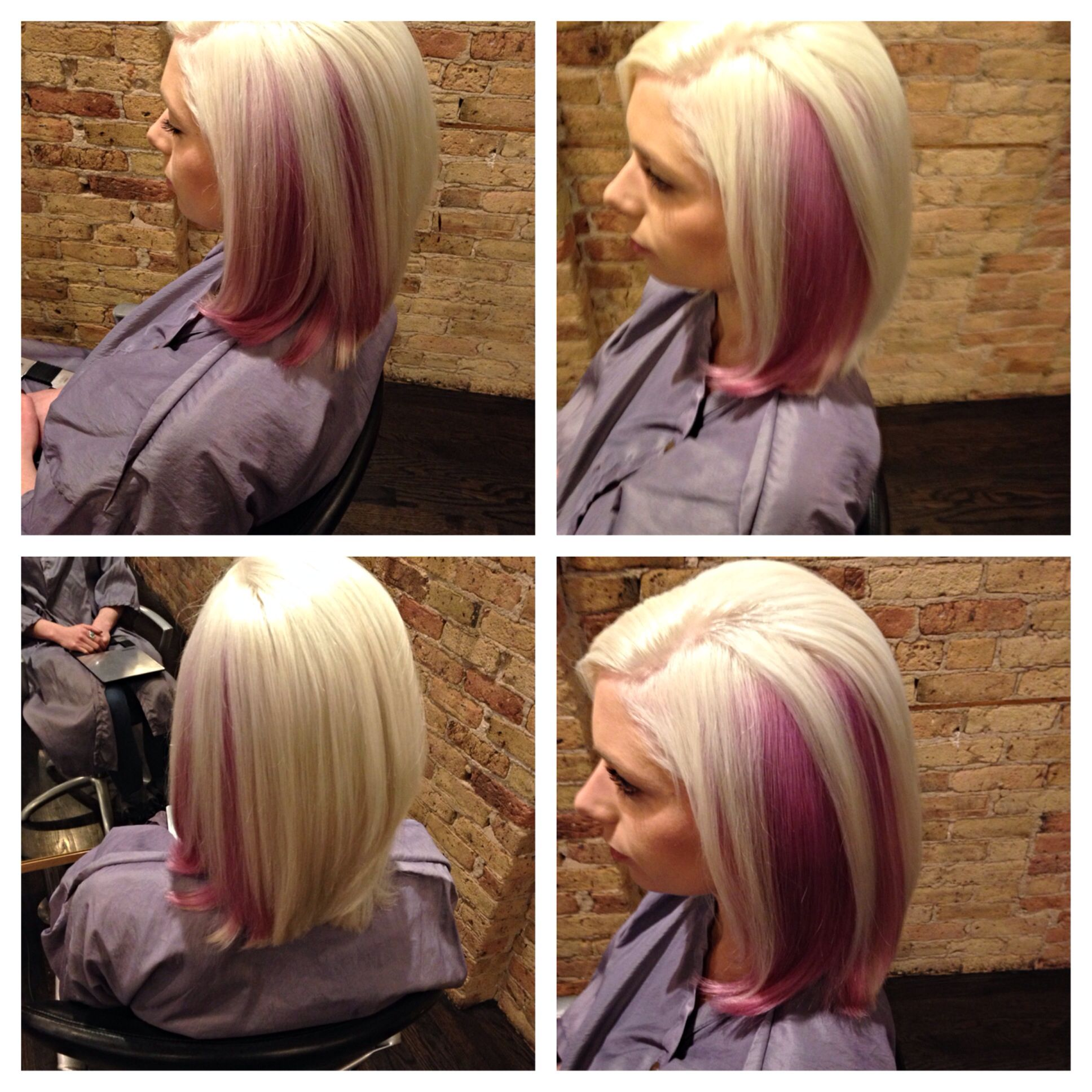 Color Block By Andra At Roque Salon Chicago Platinum And Berry