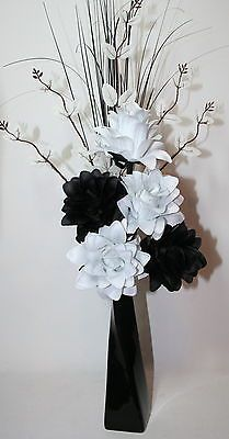 Artificial silk flowers black white flower arrangement in black artificial silk flowers black white flower arrangement in black vase 60cm mightylinksfo
