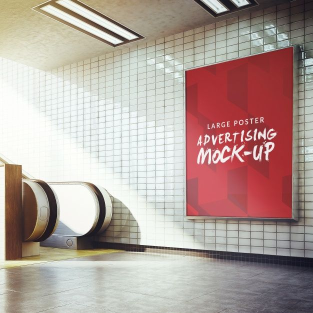 Underground Poster Mock Up Design Free Psd