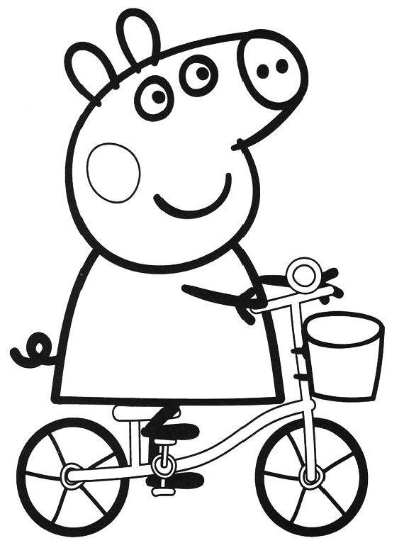 Peppapig in bicicletta disegni da colorare for Peppa pig disegni da colorare