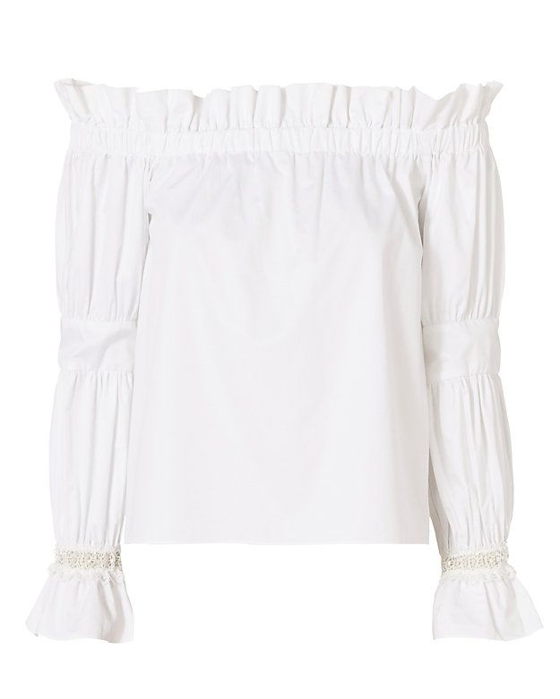 f6dcb37db6adf Alexis Ellen Off The Shoulder Top  White  Lace trim at flare cuffed long  sleeves. Elasticated off the shoulder cut. In white. Fabric  100% cotton  Made in ...