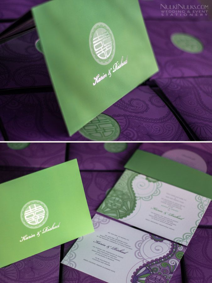 Purple and green wedding invitation pocket with Chinese & Indian ...