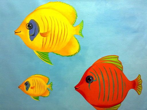 Murales infantiles pintados a mano alzada peces mural - Murales infantiles pintados a mano ...