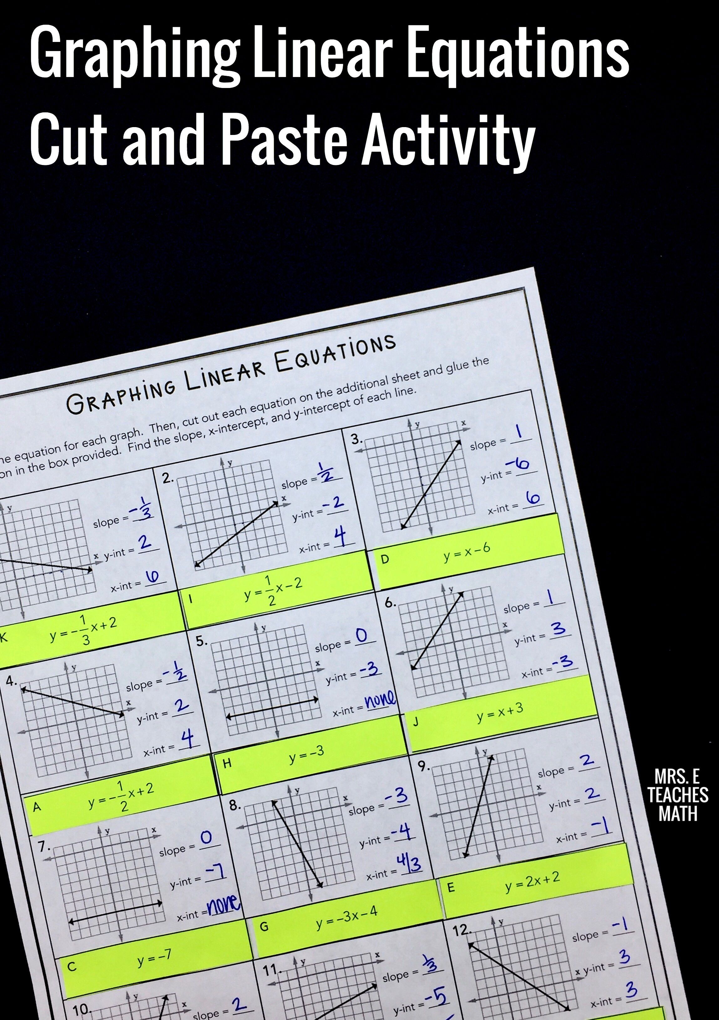 Graphing Linear Equations Cut and Paste Worksheet ...