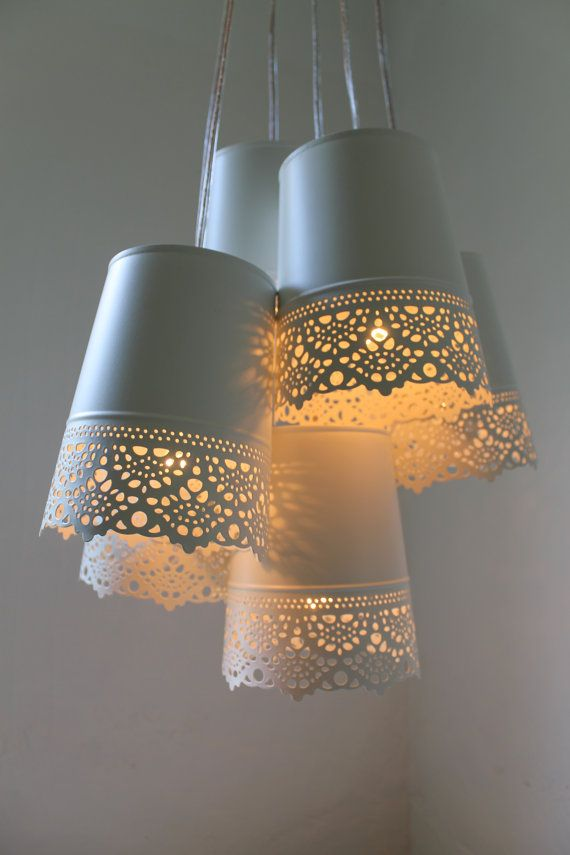 Lace Chandelier Lamp, White Metal Lace Pendants Hanging Chandelier ...