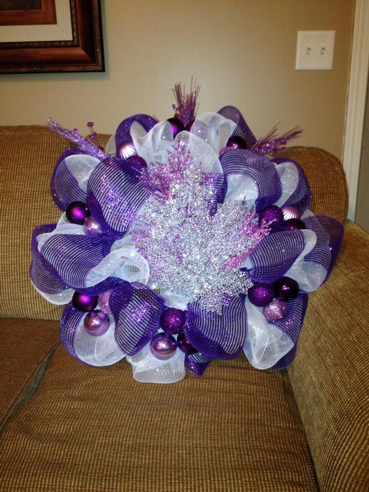 Christmas Wreath with Long roll of Iridescent White and medium roll of purple.