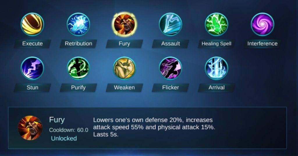 Mobile Legends battle spells for yun zhao   Mobile legends ...