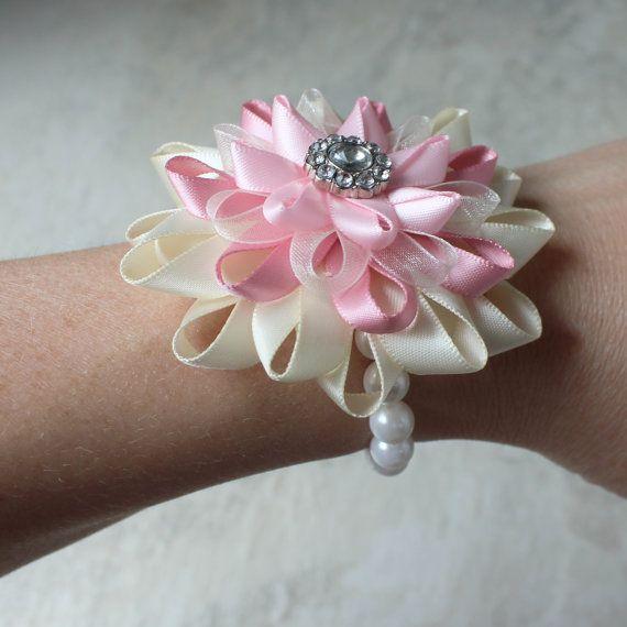 Flower Corsage Pink Wrist Corsage Prom Corsage By Petalperceptions