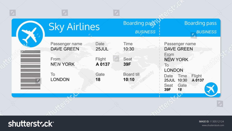 Plane Ticket Template Airplane Flight Ticket Blank Boarding Pass