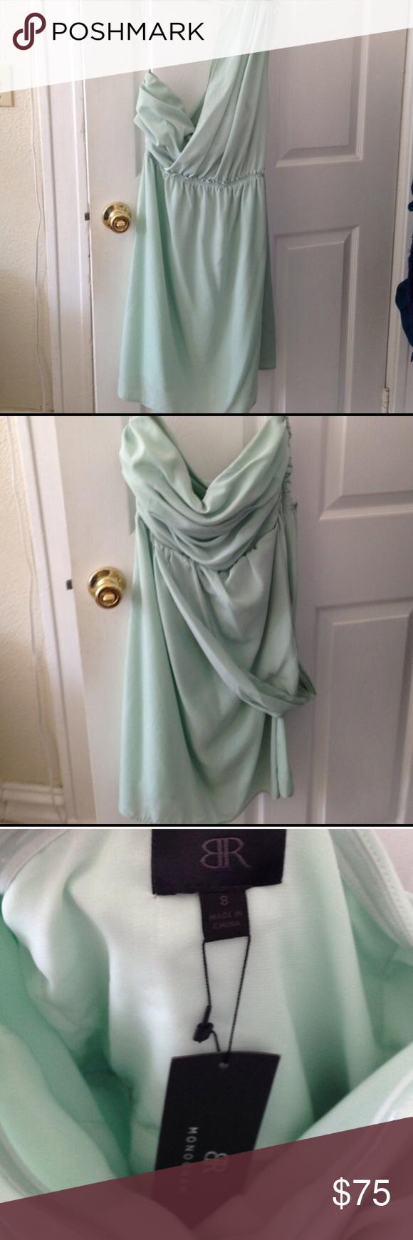 Green dress one shoulder  BR Mint Green One Shoulder Dress NWT  Mint green dress Mint green