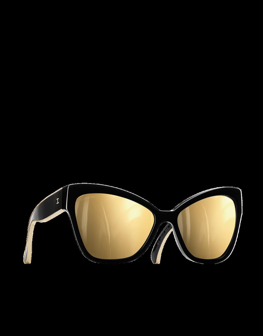 c8c3118dde Oversized cat eye acetate sunglasses 18kt. Gold lenses - CHANEL ...