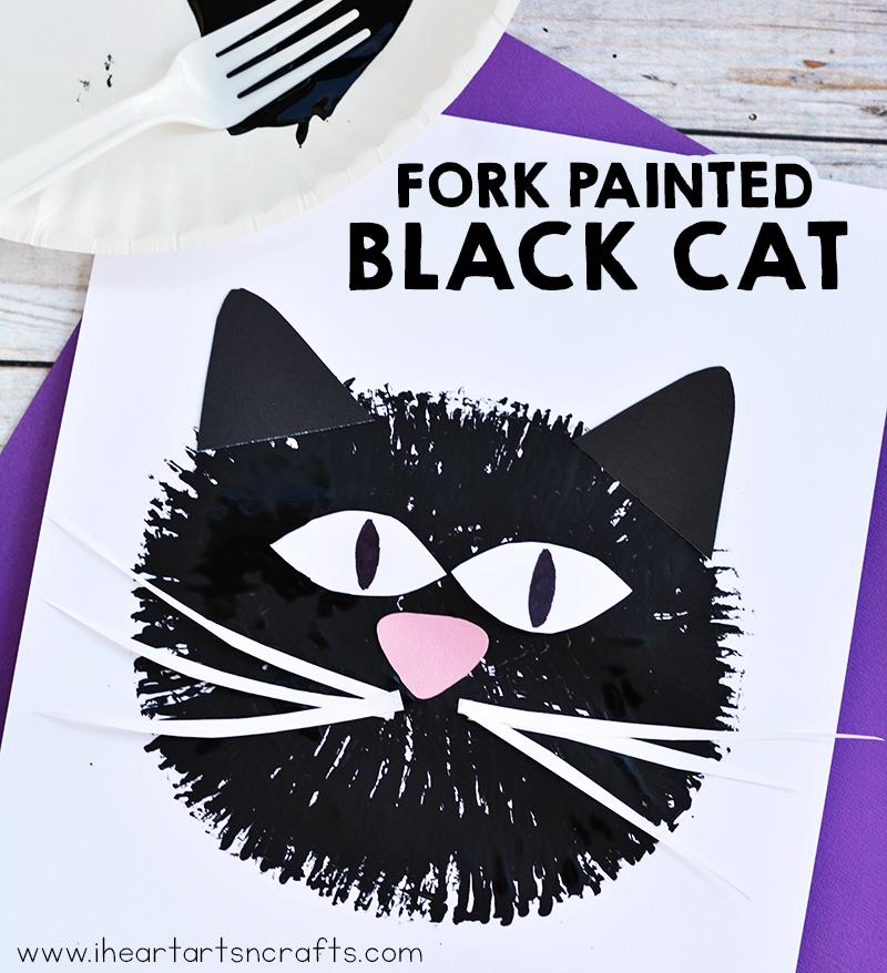Fork Painted Black Cat Craft For Kids | Koty, Proste i Pomysły
