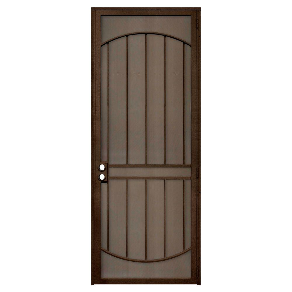 Unique Home Designs 36 In X 96 In Arcada Copper Surface Mount Right Hand Steel Security Door With Expanded Metal Screen Brown Home Ideas Steel Security