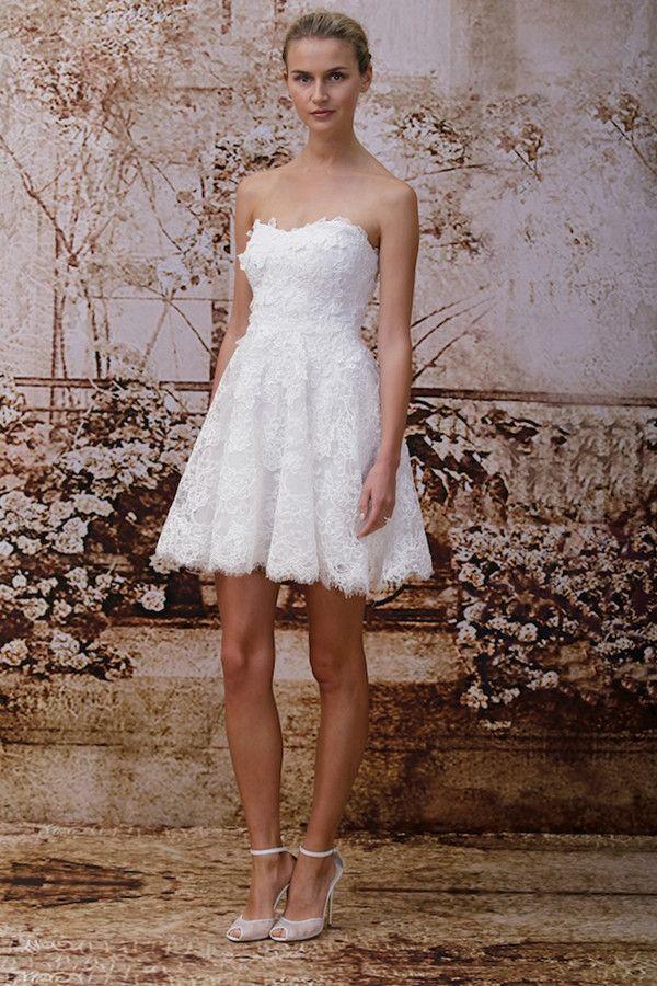 Brautmode 2014 Monique Lhuillier kurz Hochzeitskleid Brautmode 2014 ...