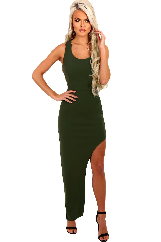 8cb5628d983 Army Green Strappy Side Split Maxi Dress