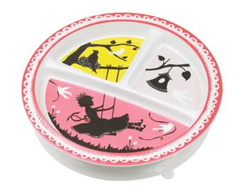 Sugar Booger plates, bowls, and utensils are great melamine pieces with awesome patterns (my favorite being this one). A bonus: many Sugar Booger plates have a suction ring to prevent baby from chucking their plate of food.