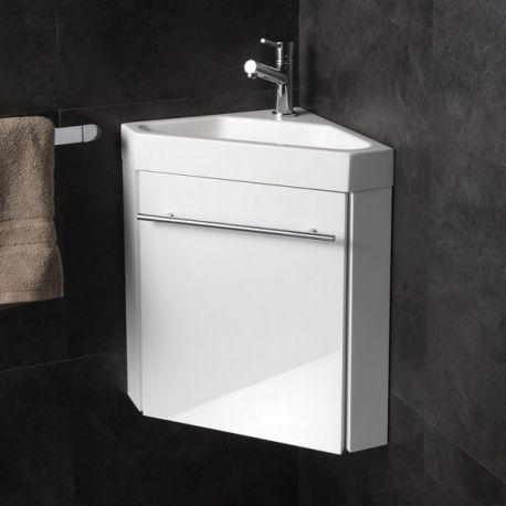 Lave mains d 39 angle complet pour wc avec meuble design blanc lave main angles et lave - Credence pour lave main ...