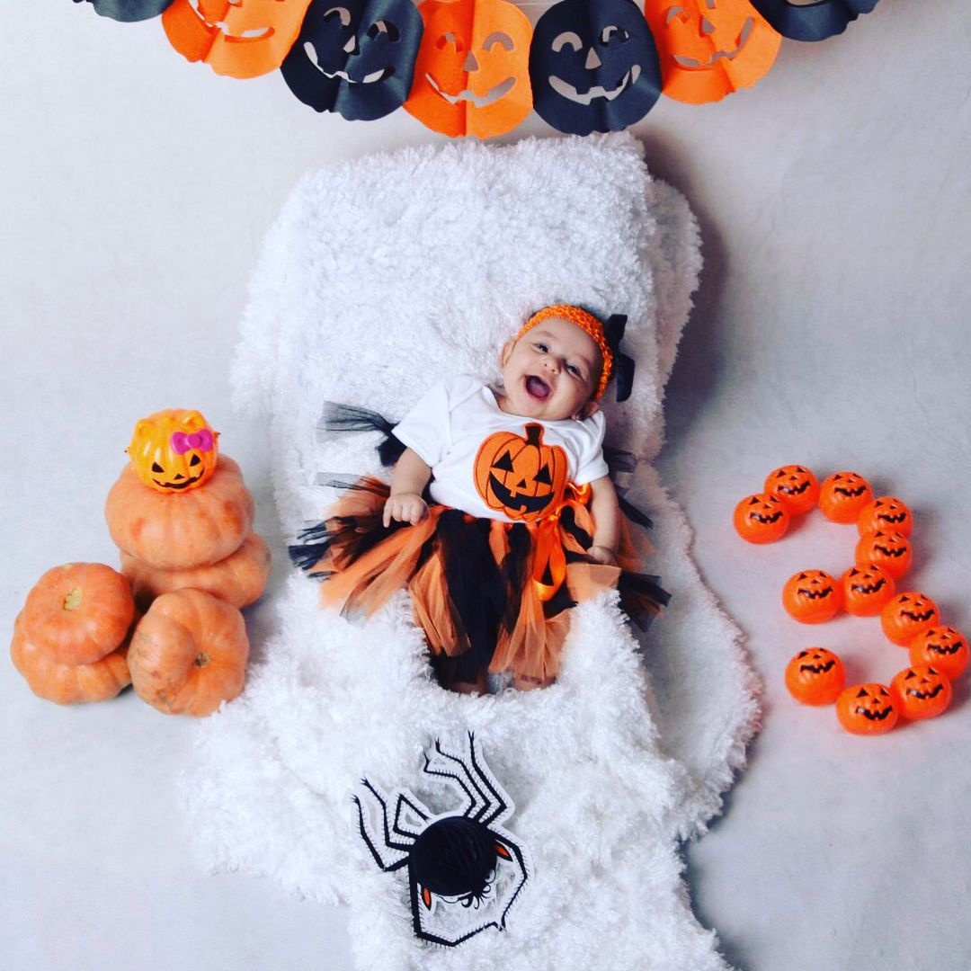 Lilly Alsarraj 3 Months Old Baby On October Halloween Theme Halloween Baby Pictures Halloween Photoshoot Baby Fall Baby Pictures