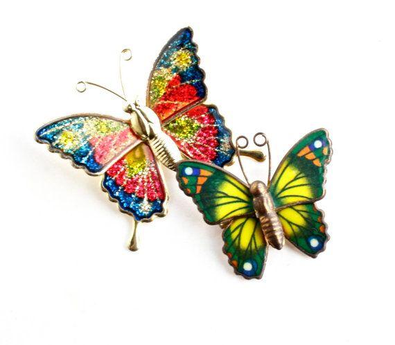 Vintage Butterfly Brooch Lot  2 Gold Tone Enamel by MaejeanVINTAGE, $14.00
