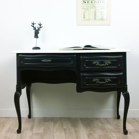 Bureau noir et blanc amie paulette meuble ancien relook meubles et rangements par madeleine for Meuble bureau noir
