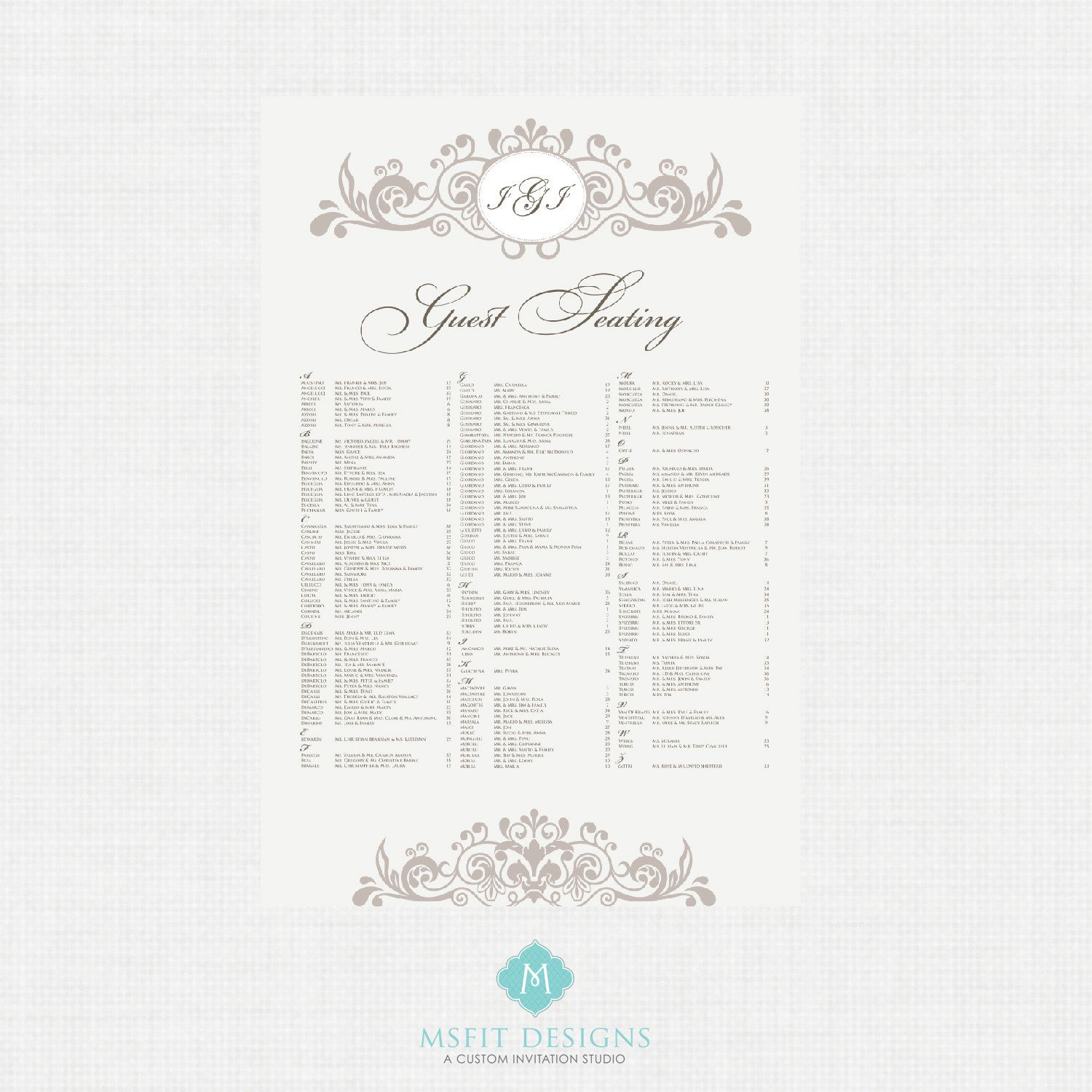 Printable Seating Chart Seating Chart Wedding Seating Reception