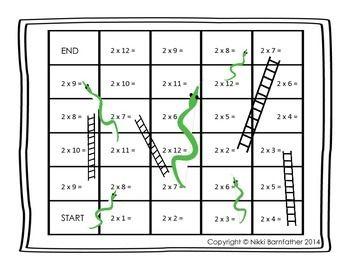 multiplication x2 snakes and ladders board game nb tutoring downloads multiplication math. Black Bedroom Furniture Sets. Home Design Ideas