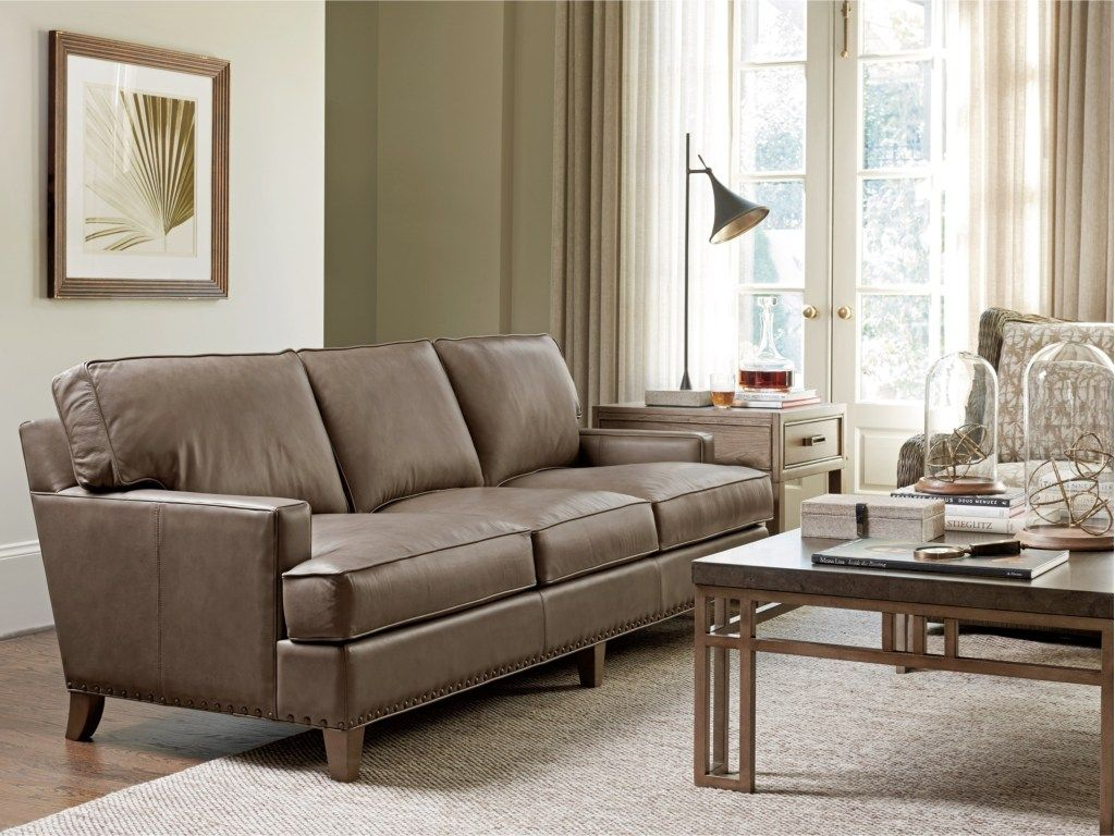 Our Leather Sofa Is Smooth And Soft With A Modern Look In A Versatile Taupe Leather The Spaced 1 2 Inch Natural Fi Furniture Leather Sofa Living Room Leather
