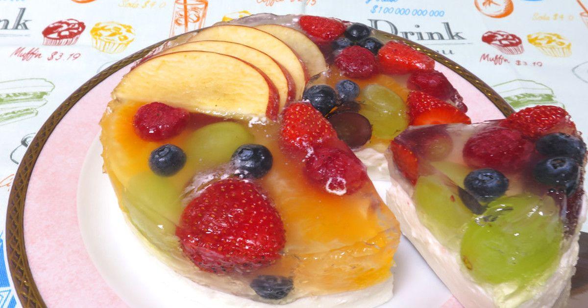 【簡単】2層のフルーツゼリーケーキ♪