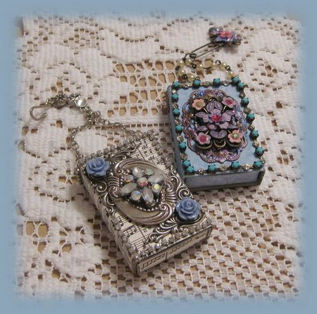 these altered jeweled mini matchboxes would make cool pendants