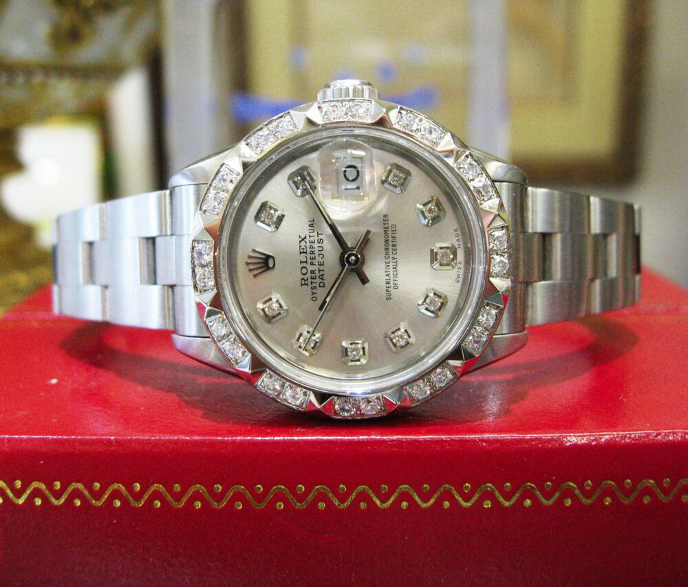 Ladies rolex oyster perpetual datejust diamond dial and