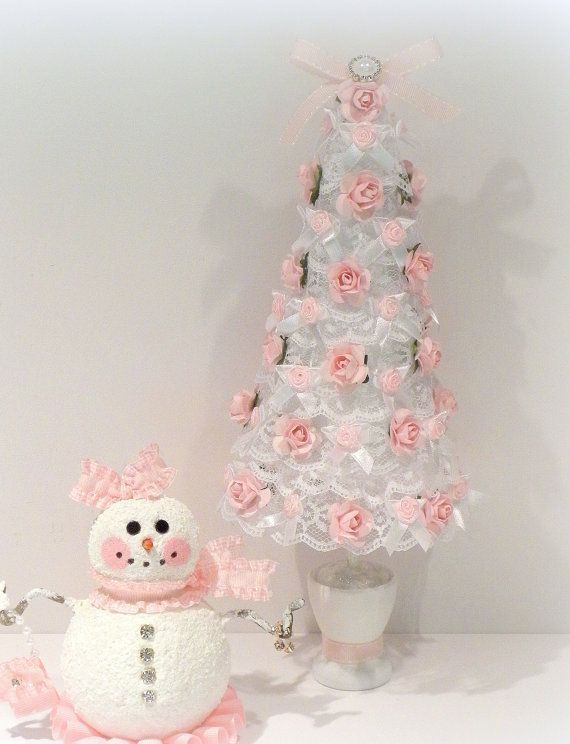 white lace mini tree with pink roses pink snowman pink christmas christmas tree snowman christmas decorations christmas pics pink christmas