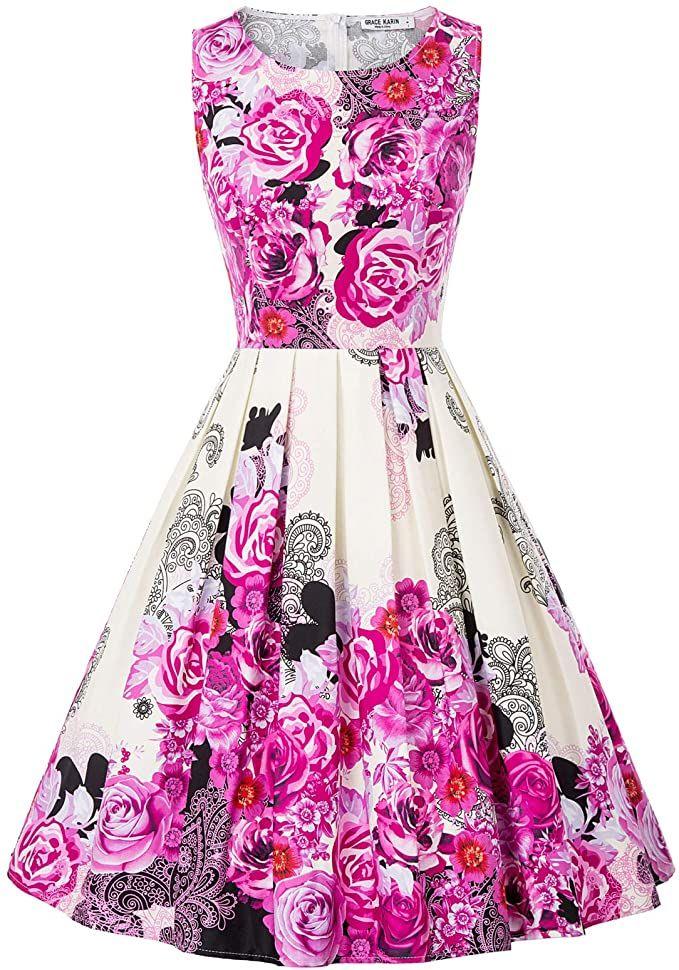 GRACE KARIN Damen Rockabilly Kleid Knielang Blumenkleid ...