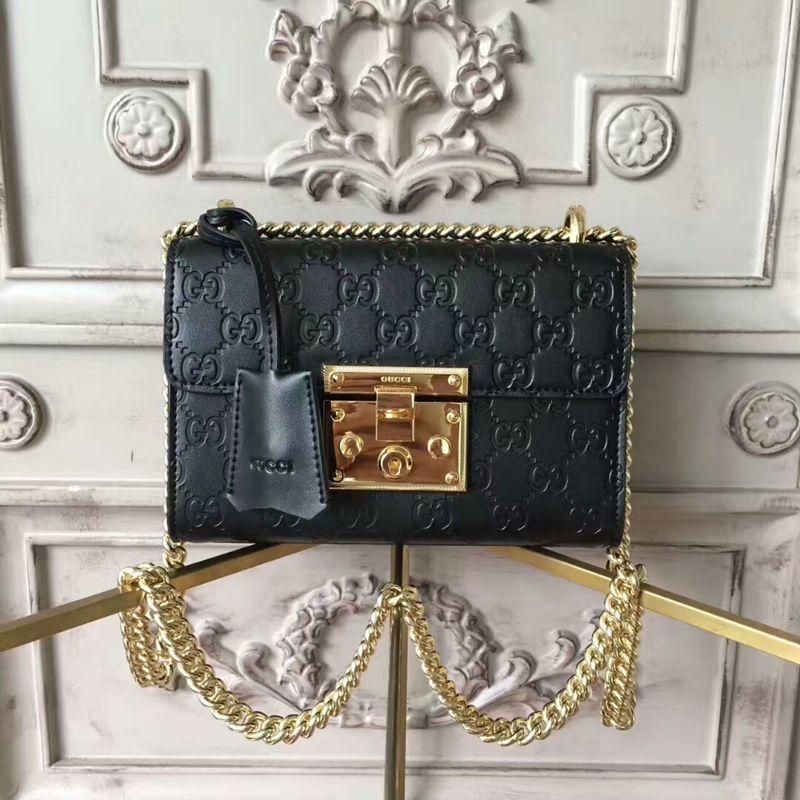 458cd6d95f8 Gucci Padlock Small Gucci Signature Shoulder Bag 409487 Black ...