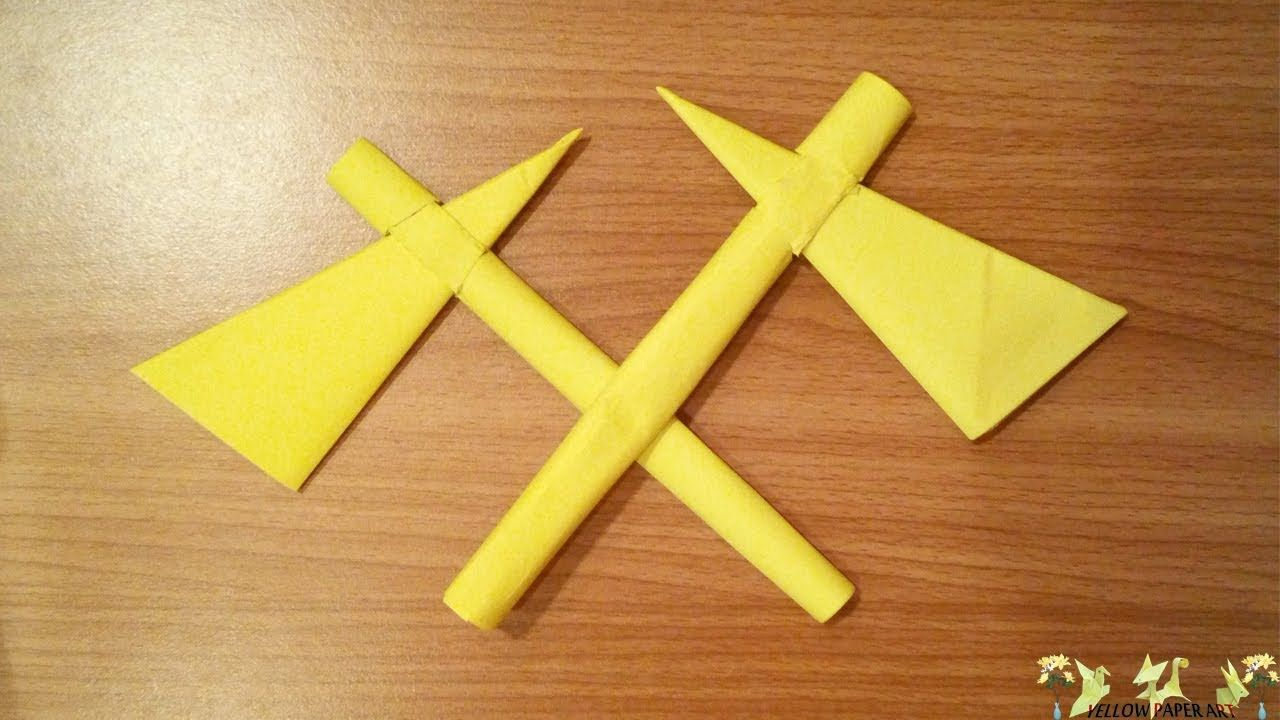 Yellow paper art how to make paper axe origami folds