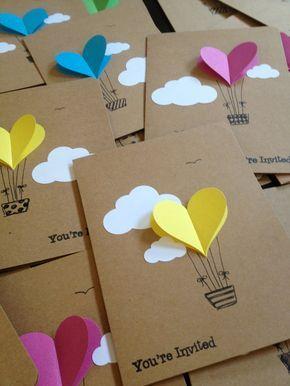 hot air balloon karten ballon herz einladung von waterhorsestudios, Einladung