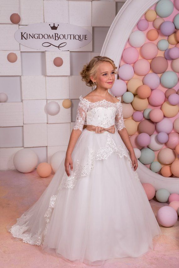 4fba3ed08 Ivory Lace Flower Girl Dress - Birthday Wedding Party Holiday Bridesmaid  Flower Girl Ivory Tulle Lac