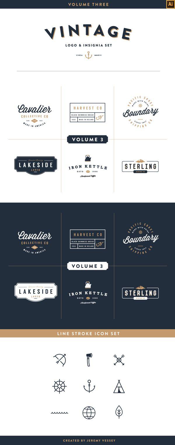 Vintage Logo Kit Volume Three By Jeremy Vessey Via Behance Vintage Logo Design Logo Design Typography Vintage Logo