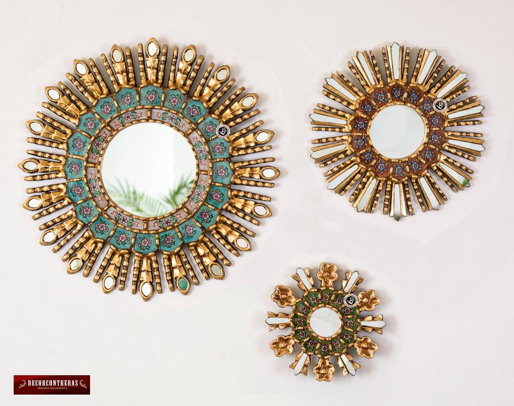 Sunburst Wall Mirrors Set 3 Cuzco Treasure Peruvian Round