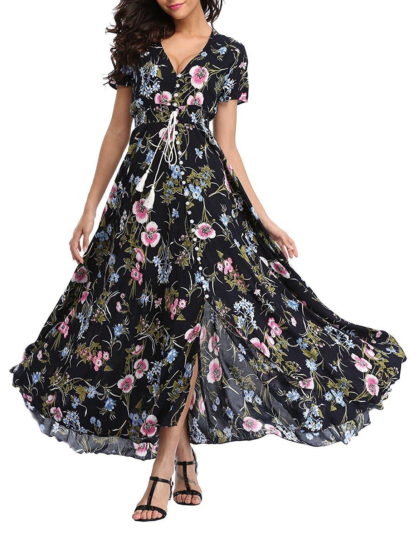 d71096fe168 VintageClothing Women s Floral Print Maxi Dresses Boho Button up Split  Beach Party Dress at Amazon Women s Clothing store
