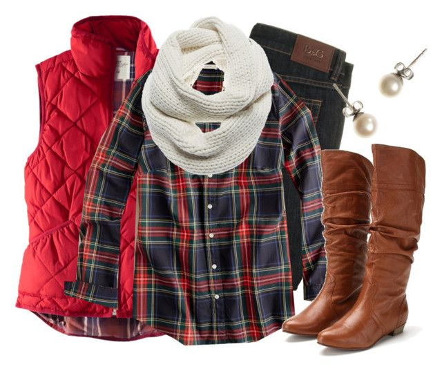 """""""Red Vest"""" by qtpiekelso ❤ liked on Polyvore featuring H&M, D&G, J.Crew, J Brand and Steve Madden"""