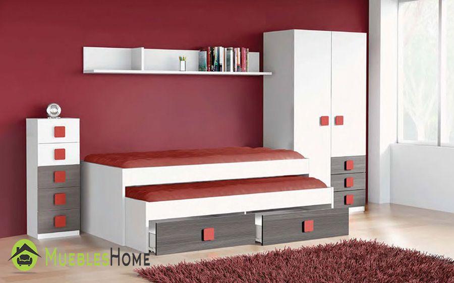 Dormitorio juvenil color ceniza rojo con cama nido - Dormitorio juvenil pequeno ...