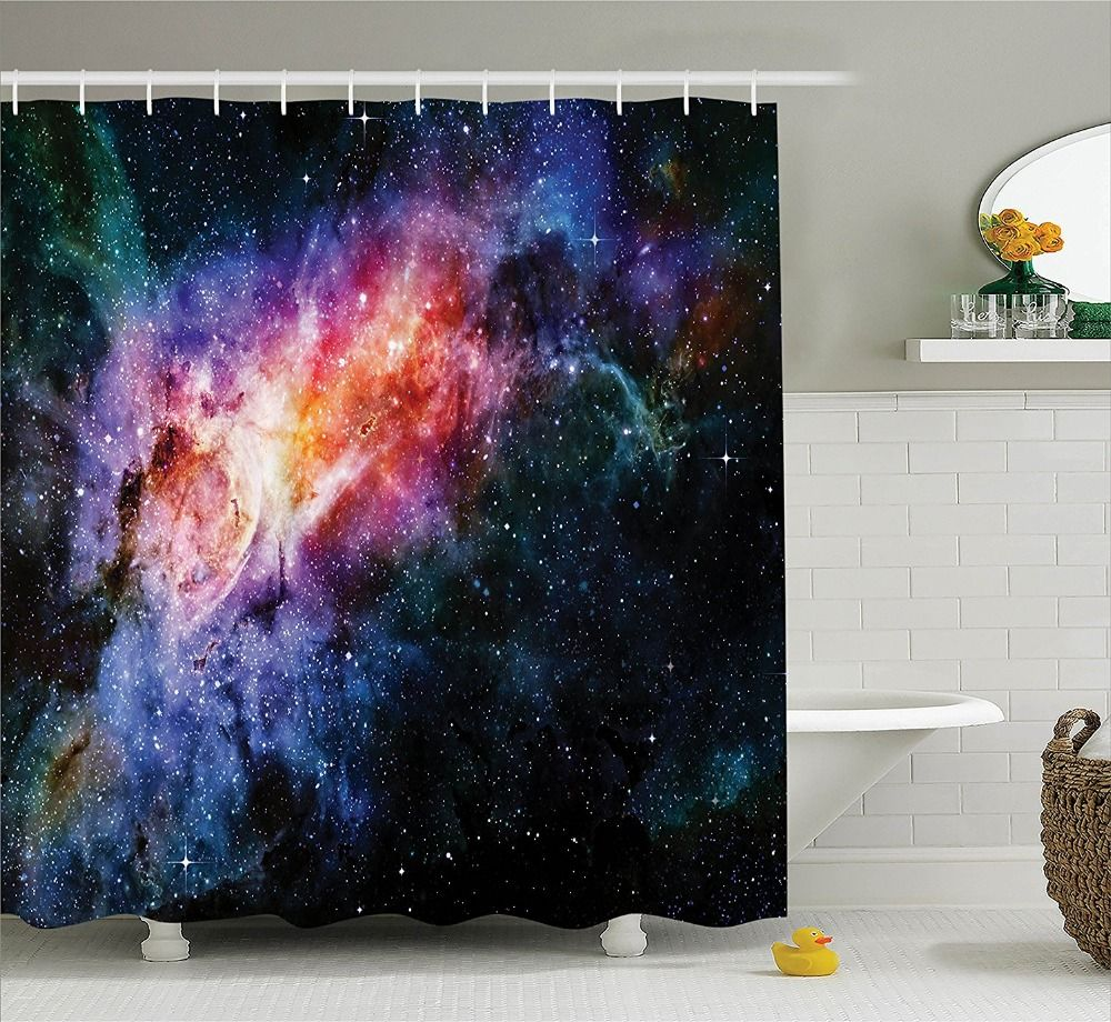 Shower Curtain Beautiful Starry Deep Outer Space Nebula And Galaxy Printing Waterproof Mildewproof Polyester Fabric Bath Cu Star Shower Shower Curtain Curtains