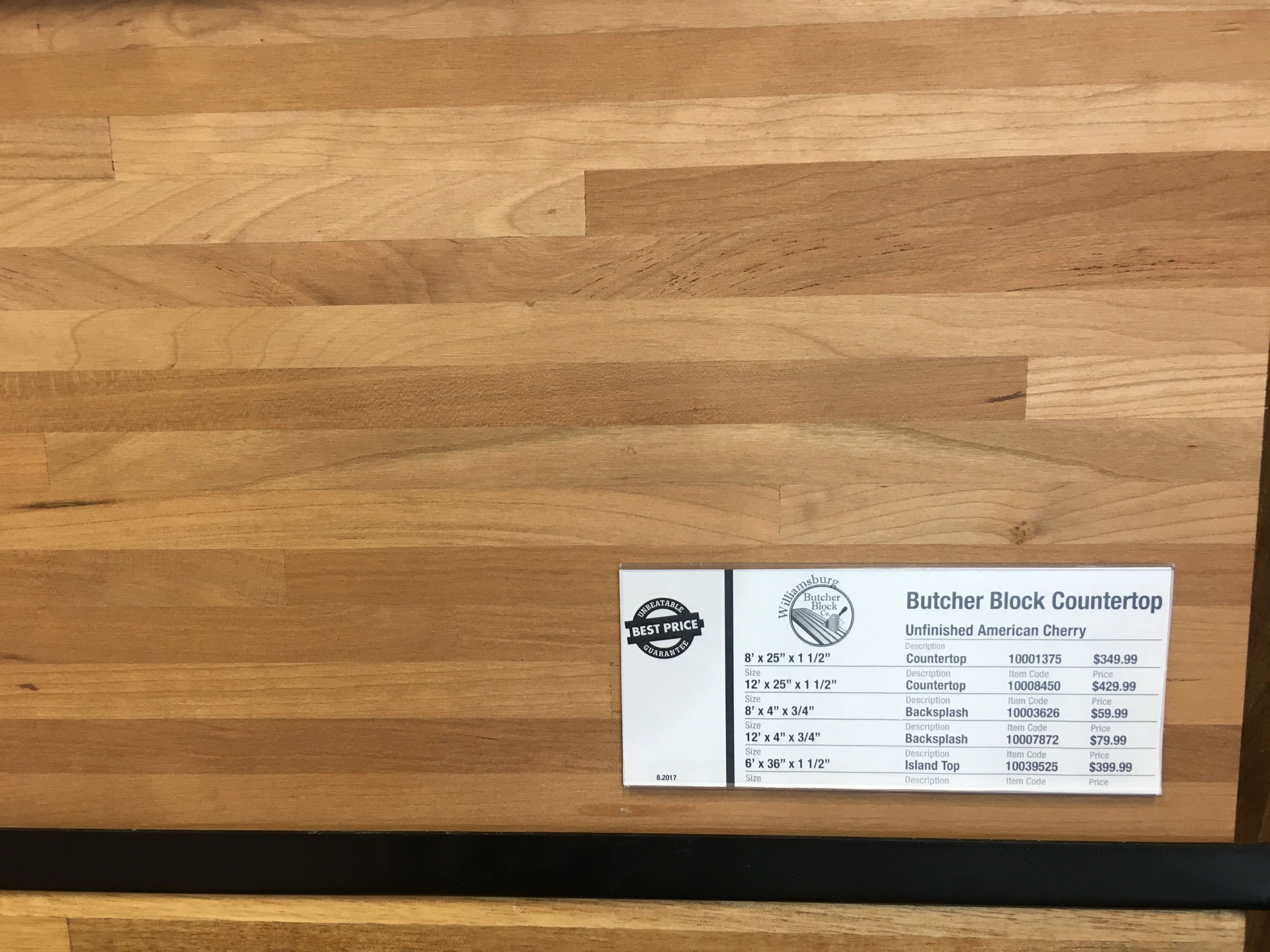 Cherry butcher block (Lumber liquidators) for 6' x 4