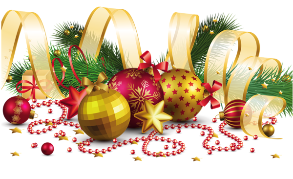 Transparent Christmas Decoration With Gold Bow PNG Picture
