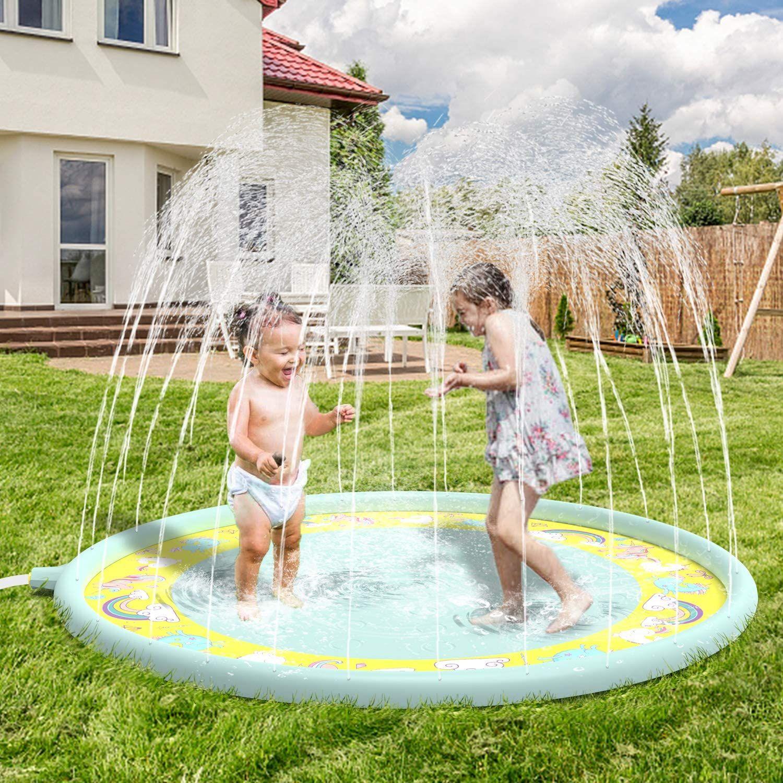 170cm Aufblasbar Sprinkler-Matte Fontänen Matte Garten Wasserspielzeug Kinder