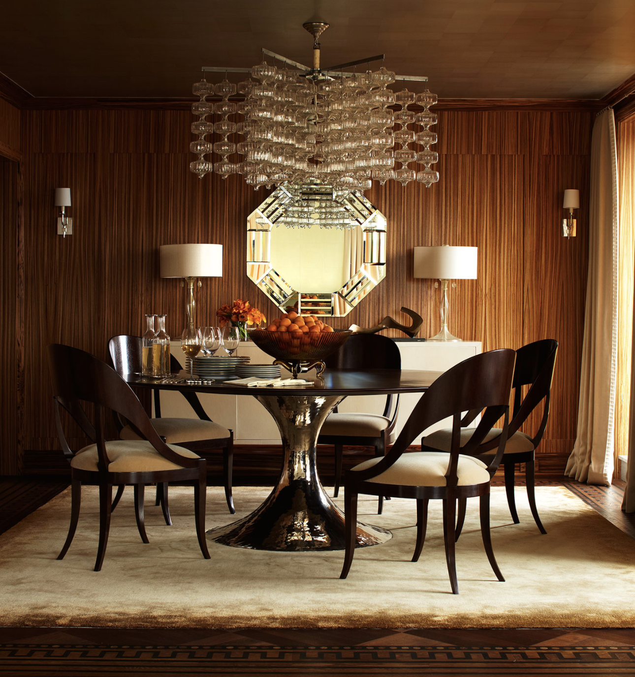 James Michael Howard Interiors Luxury Elegant And Beautiful Dining Room With Dark Chairs And Gold Center Tab With Images Dining Room Design Contemporary Dining Room Design