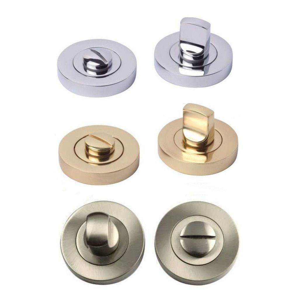 Thumbturn turn release for wc bathroom toilet door lock for Brass bathroom door handles with lock