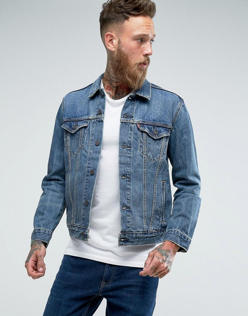 2fccc43406d Click for more details. Worldwide shipping. Levis Trucker Jacket The Shelf Light  Wash - Blue  Denim jacket by Levi s
