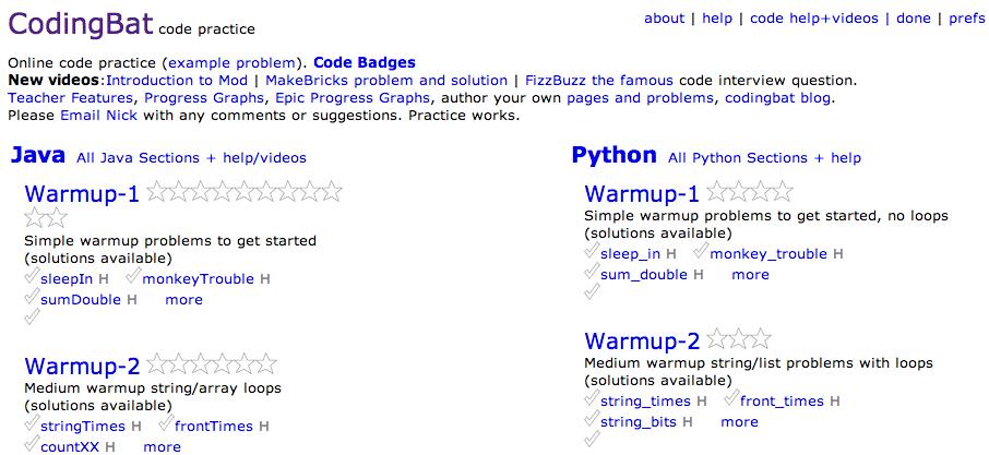 CodingBat code practice - Java & Python Online code practice ...