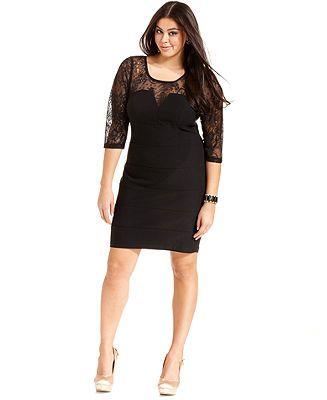trixxi plus size three-quarter-sleeve lace illusion dress